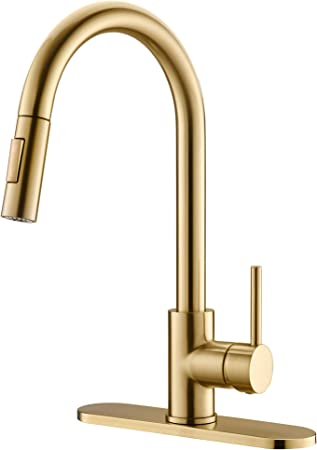Havin Hv601 Brass Kitchen Faucet With Pull Down Sprayer Brushed Gold Color Fit For 1 Hole And 3 Holes Deck Mount Single Handle Brushed Gold Amazon Com