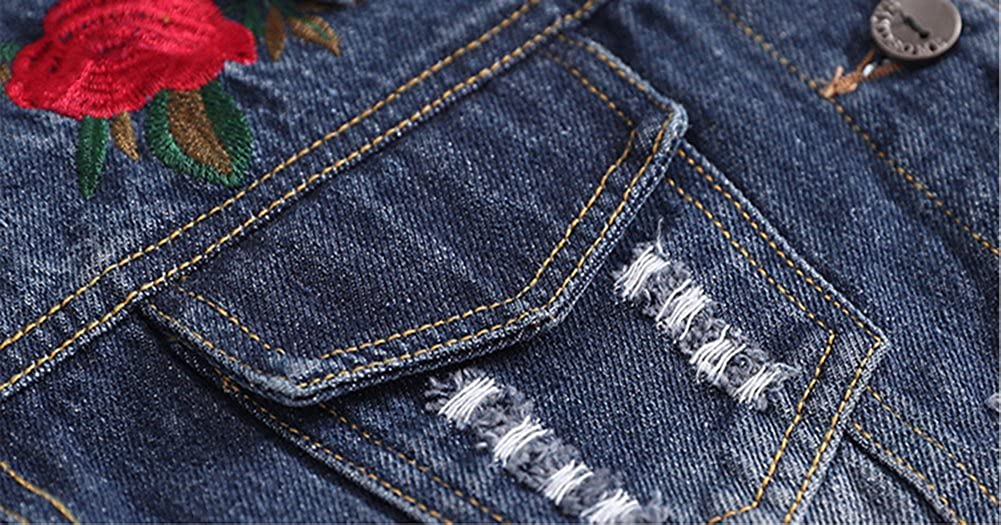 D-Sun Baby Girls Denim Jacket Rose Flower Embroidery Toddler Ripped Denim Coat for Kids