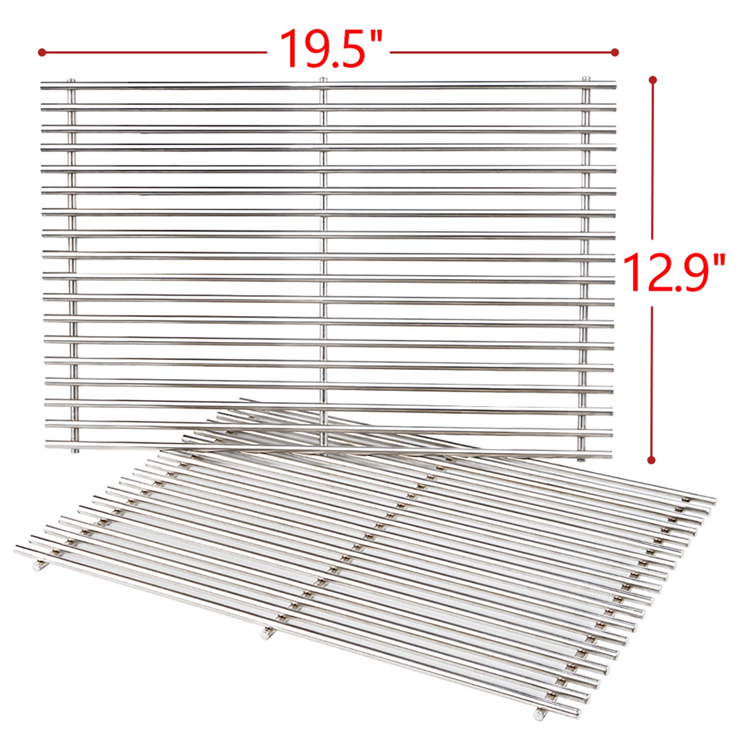 SHINESTAR 19.5-inch Grill Grates Replacement Parts for Weber Genesis 300 Series, Grill Cooking Grates 7528, 7mm Solid Stainless Steel Heavy Duty Grill Grids by SHINESTAR
