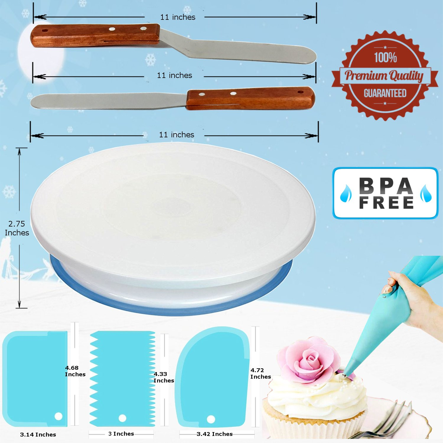 73 pcs Cake Decorating Supplies Kit for Beginners-1 Turntable stand-24 Numbered Easy to use icing tips with pattern chart and E.Book-1 Cake Leveler-Straight and Angled Spatula-3 Russian Piping nozzles by RFAQK (Image #2)