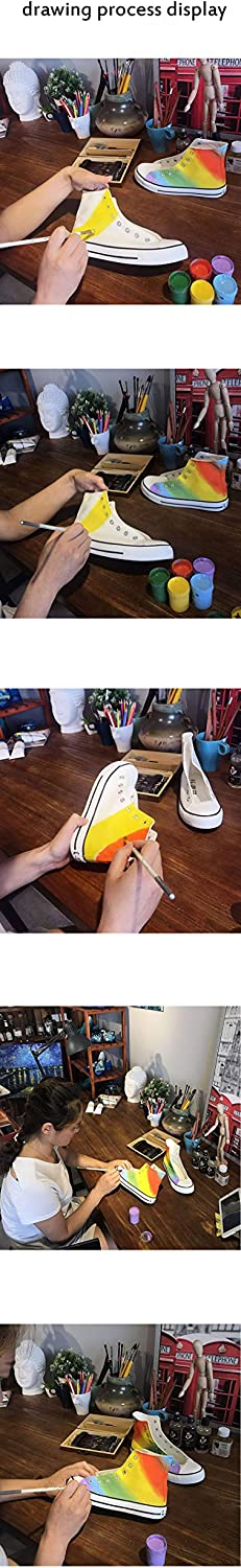 Synona Rainbow Style Adult Hand-Painted Unisex Canvas Shoes High Top for Mens Womens Fashion Sneakers Casual Lace ups Walking Shoes Flat Gym Sports Trainers
