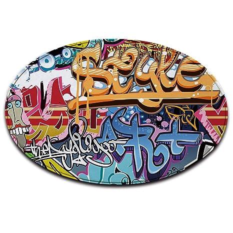 Lb Graffiti Bleu Blanc Rouge Anti Dérapant Lavable En Machine Espace