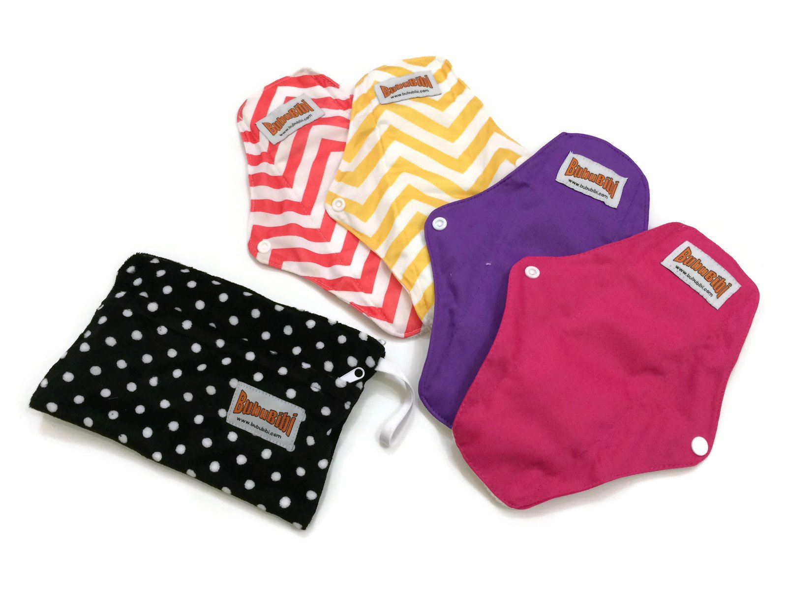 BubuBibi 2 Regular 2 Maxi Bamboo Mama Cloths Menstrual Pads FREE Bag TRIAL PACK