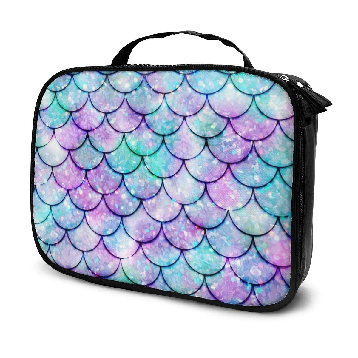 YongColer Beautiful Sparkling Mermaid Scales Toiletry Bag Holder Portable Gift for Girls Women Large Capacity Travel Makeup Train Case for Cosmetics Digital Accessories Fashion Travel Bag