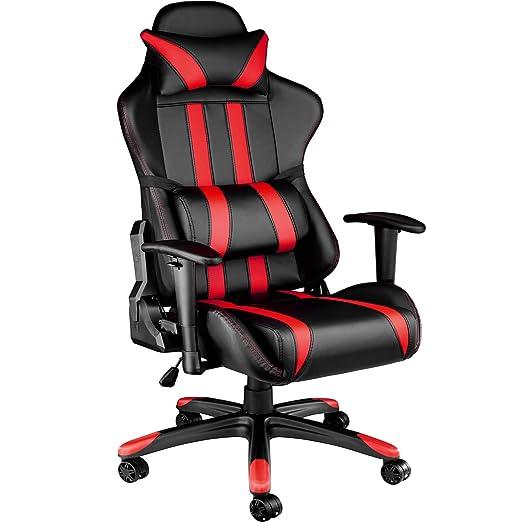 TecTake Silla de oficina ergonomica racing gaming con soporte lumbar - disponible en diferentes colores - (negro rojo | no. 402030)
