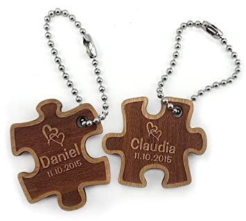 TH-Design Un muy bonito llavero Partner Puzzle de madera de ...
