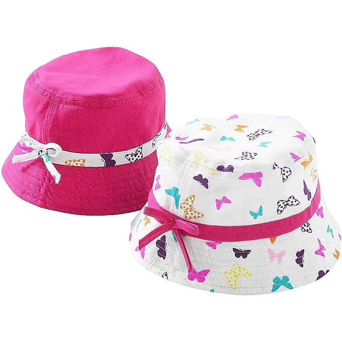 06c66861895c1 Girls Butterfly Polka Dot Spot 2 Pack Bucket Fisherman Summer Sun Hats   Amazon.co.uk  Clothing