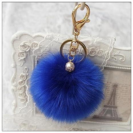 Ularma Lindo Bola de Pelo de Conejo Llavero de Peluche Llavero Coche Coche Bolsa Colgante Llavero (Azul)