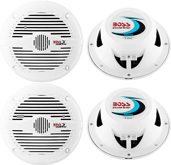 "NEW BOSS MR50W 5.25/"" 2-Way 150W Marine//Boat Coaxial Audio Speakers White 2"