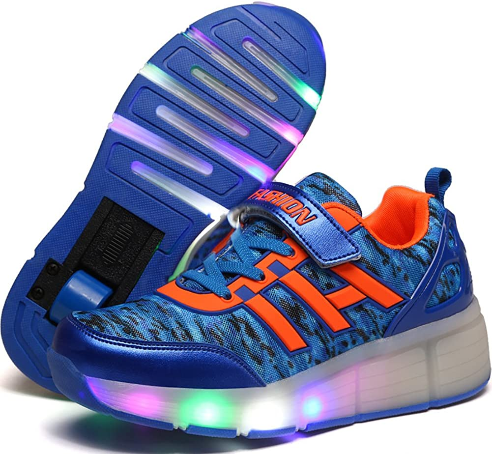 UBELLA Boys Girls Single Wheel Roller Skate Shoes Kids LED Light Up Flashing Sneakers with Wheels Blue