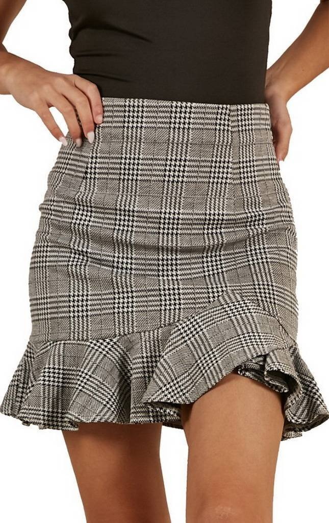 COMVIP Women's High Waist Plaid Swing Ruffle Hem Mini Bodycon Skirts M