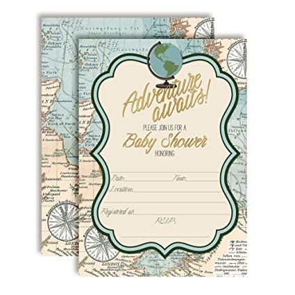 Adventure Awaits World Traveler Gender Neutral Baby Shower Invitations 20 5 X7 Fill In Cards With Twenty White Envelopes By Amandacreation