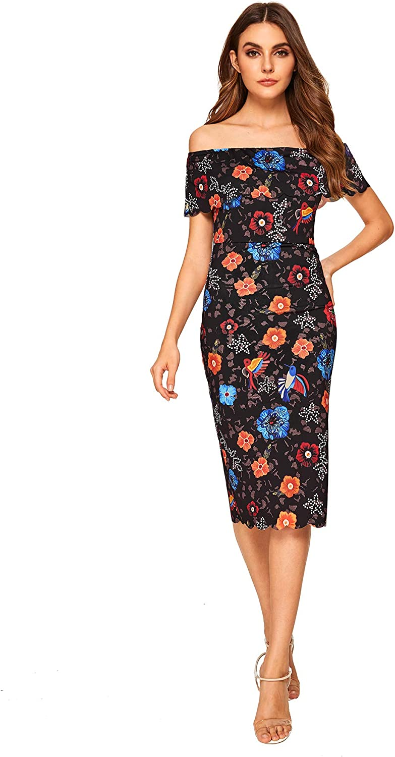 MAKEMECHIC Womens Floral Pencil Dress Knee Length Off Shoulder Cocktail Dress