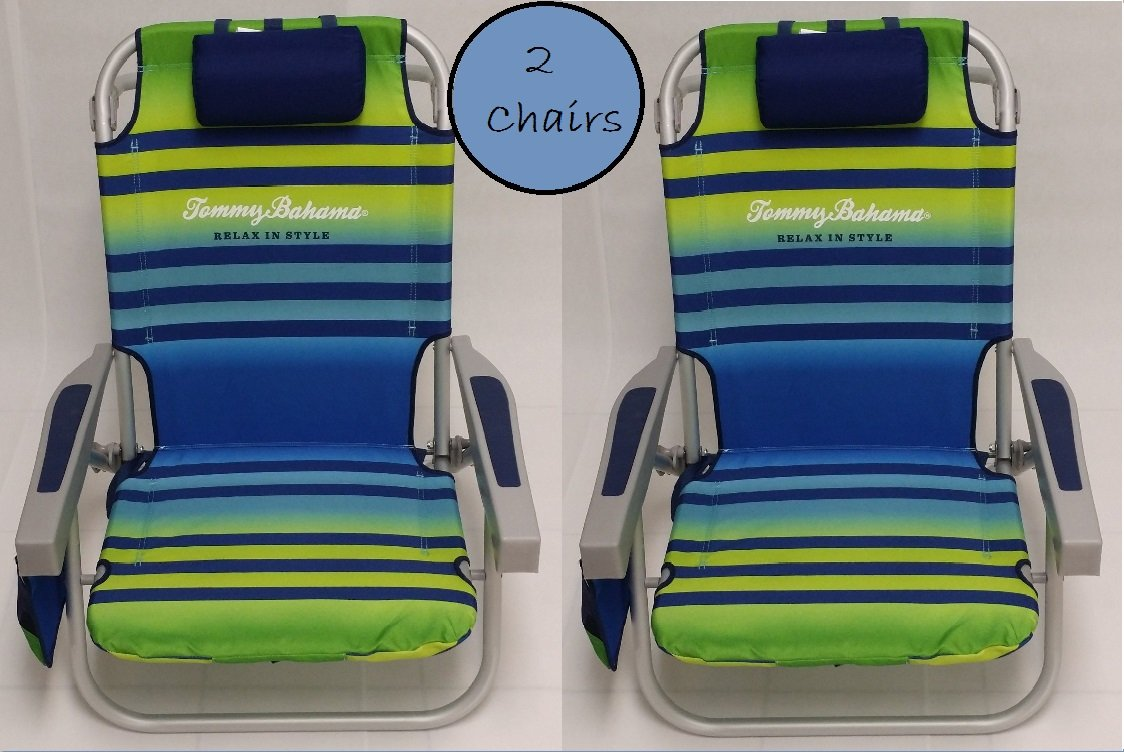 Tommy Bahama 2 2015 Backpack Cooler Chairs with Storage Pouch and Towel Bar- Green Light Blue