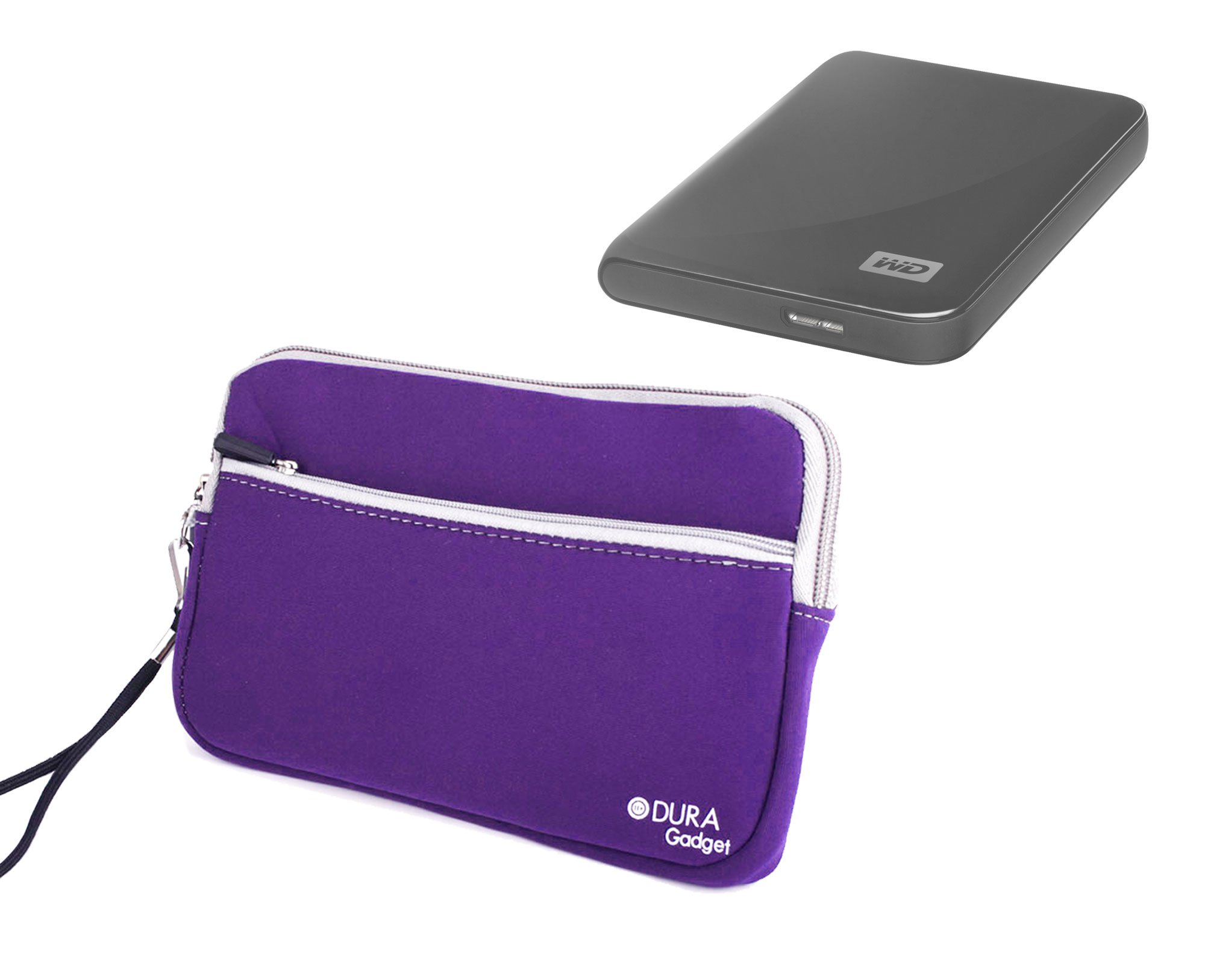 DURAGADGET Purple Travel Water Resistant Cover With Twin Zip - Compatible with WD Elements 1TB & 2TB External Hard Drives (Western Digital)