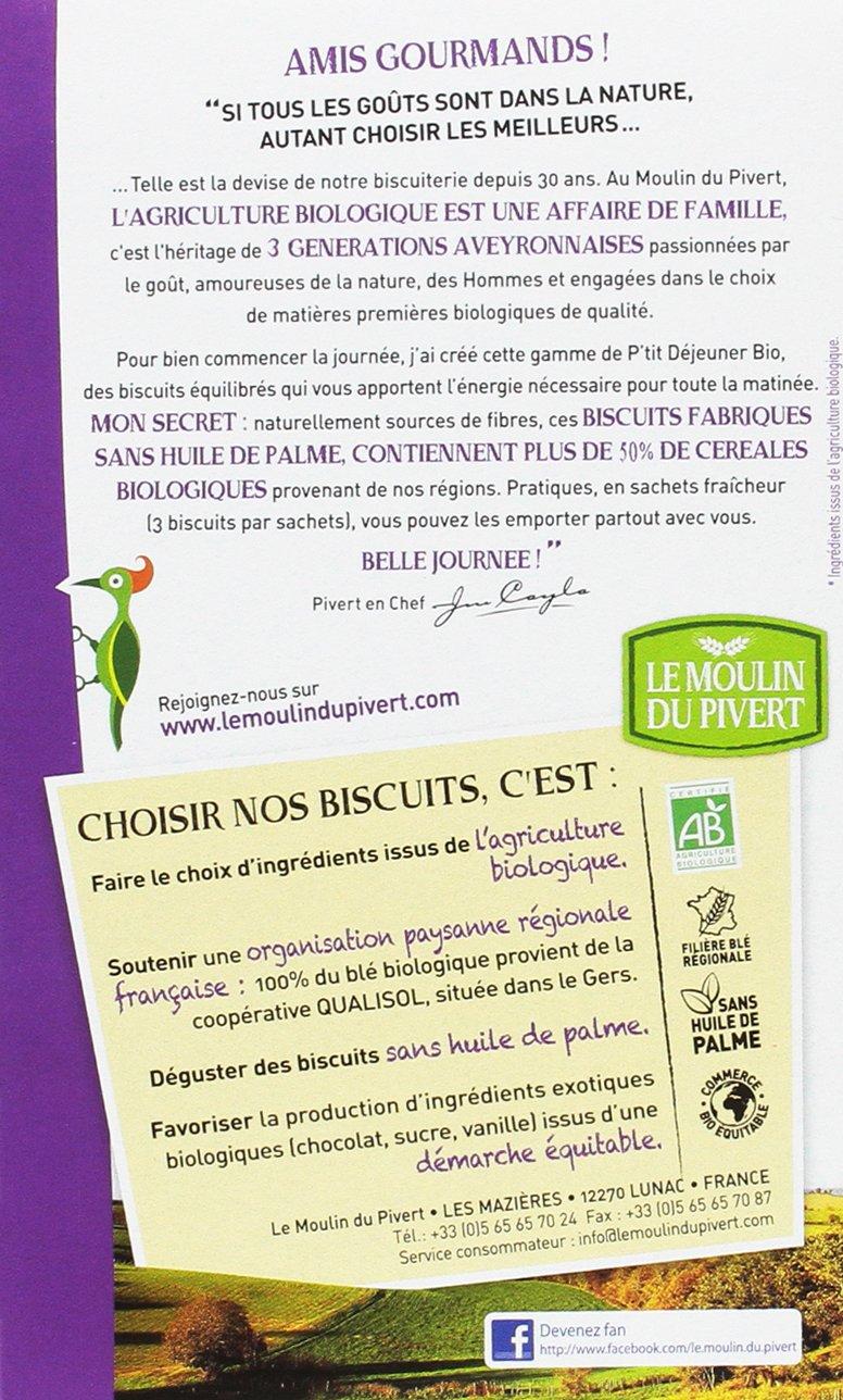 Le Moulin Du Pivert Galletas Desayuno de Cereales y Chocolate - Paquete de 12 x 190 gr - Total: 2280 gr: Amazon.es: Alimentación y bebidas