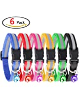 Cat collar, KeNeer Adjustable Reflective Pet Collar with Bell Simple and Elegant Design, Size Suitable Cat, Dog (6 Pieces, 6 Colors)