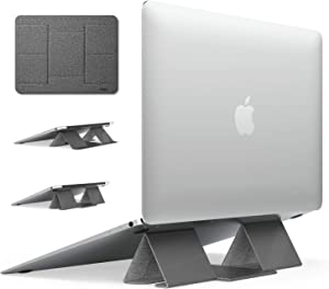 Ringke Folding Stand 2, Portable & Foldable Design Lightweight Anti-Slide Open Space Cooling Two Elevation Adjustments Invisible Laptop Stand for MacBooks, Tablets, Laptops and Notebooks - Gray