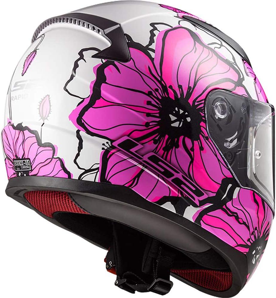 LS2 FF353 SCHNELLES Fullface Helm Motorrad Helm Roller Motorradhelm Damen und Herren Integralhelm Mohnblumen-Pink M 57-58cm