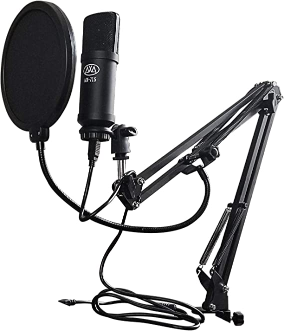 AxcessAbles MX-715 USB Studio Condenser Microphone with Desktop Mount Microphone Swivel Boom Arm Set - Ideal for Podcasting & Broadcasting