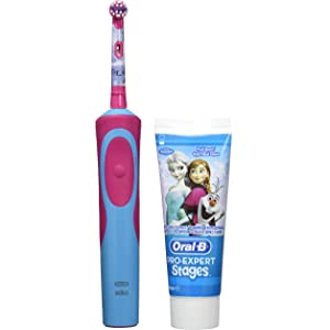 Oral B Frozen - Cepillo electrico, recargable y pasta de dientes Oral B, color