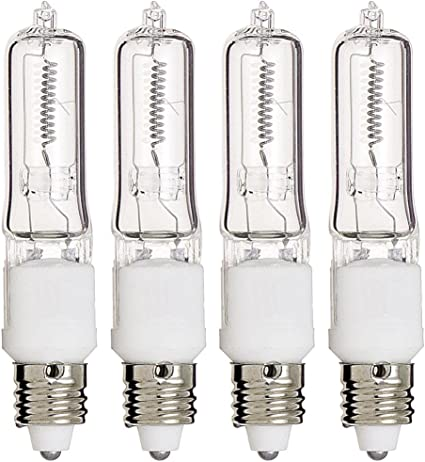 10 Bulbs 75W 100W 150W 250W Watt Halogen Light Bulb T4 JD E11 Mini-Candelabra
