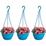 TrustBasket Colourful Plastic Hanging Basket with Bottom Saucer (Blue) - Set of 3