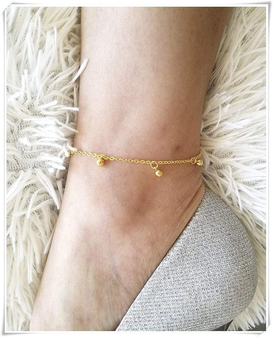 Delicate Ball Anklet Minimal Charm Anklet Gold Beaded Anklet.Fine Jewelry Gold Ball Anklet Ball Anklet Pure Handmade.