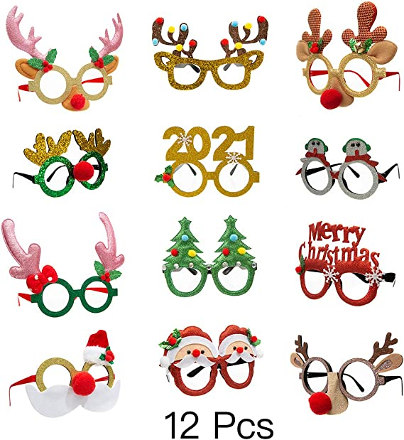 Details about  /Christmas Glasses Frame and Headbands 12 Pieces Glittered Creative Funny Eyewear