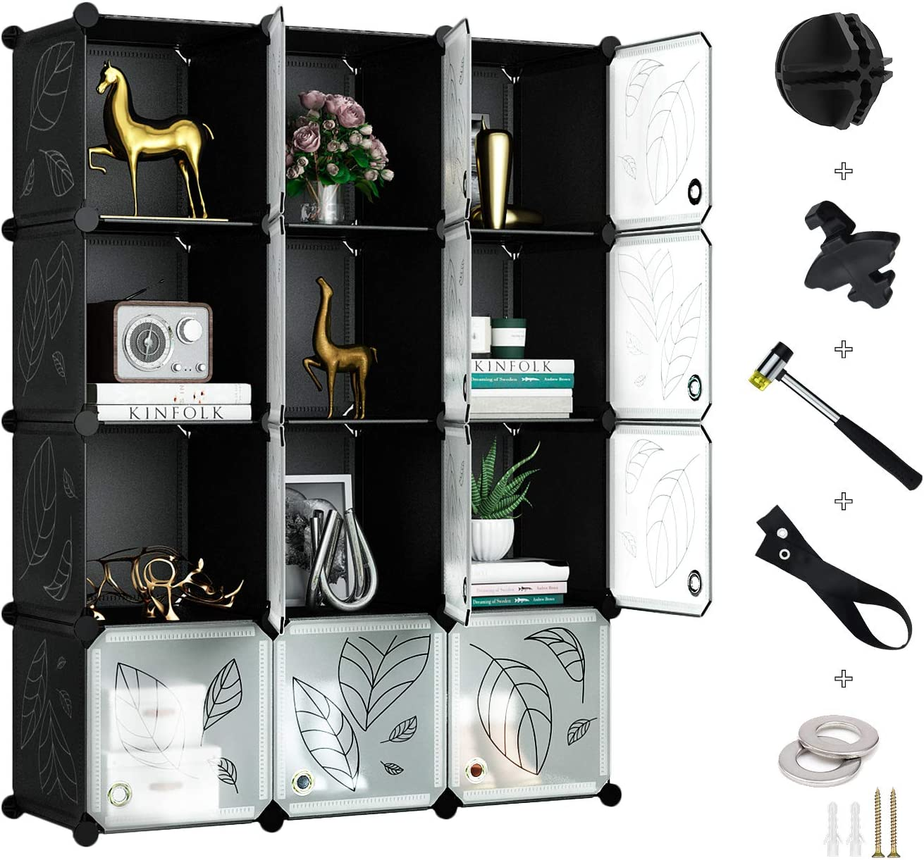 Dekorationen Greenstell Regalsystem mit T/ür Kleidung Schuhe Multifunktionsschrank mit 6 W/ürfeln Spielzeug DIY Regal zur Aufbewahrung von B/üchern Kunst