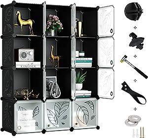Greenstell Cube Storage Organizer, Plastic Closet Organizer with Doors, 12-Cube DIY Storage Cubes Organizer, Modular Storage Cabinet Book Shelf Shelving (Dark Black Panels & Translucent White Doors)