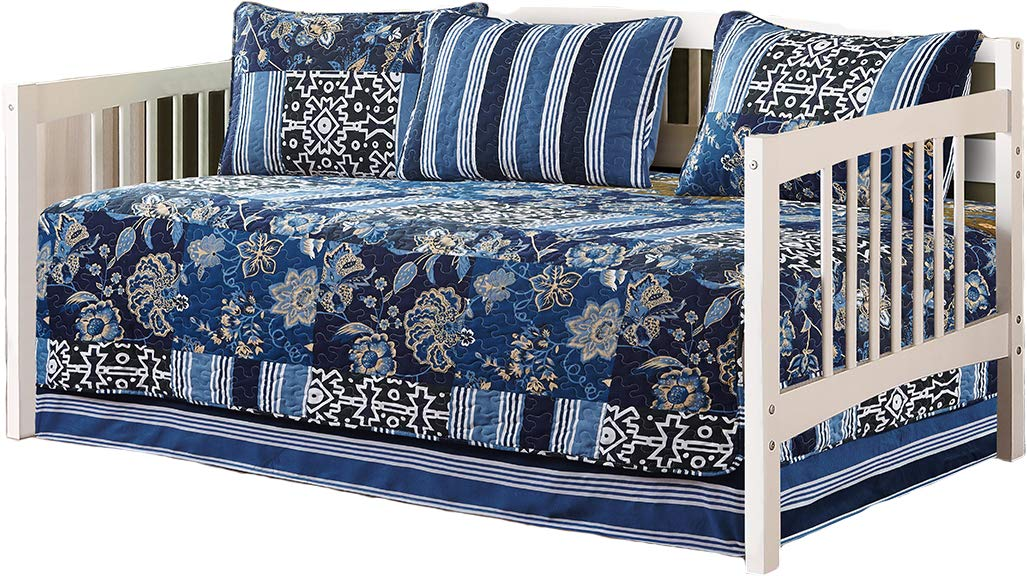 (DayBed) - Fancy Collection 5pc Day Bed Cover Floral Navy Blue Black New 0074 B076C9MK4W  DayBed