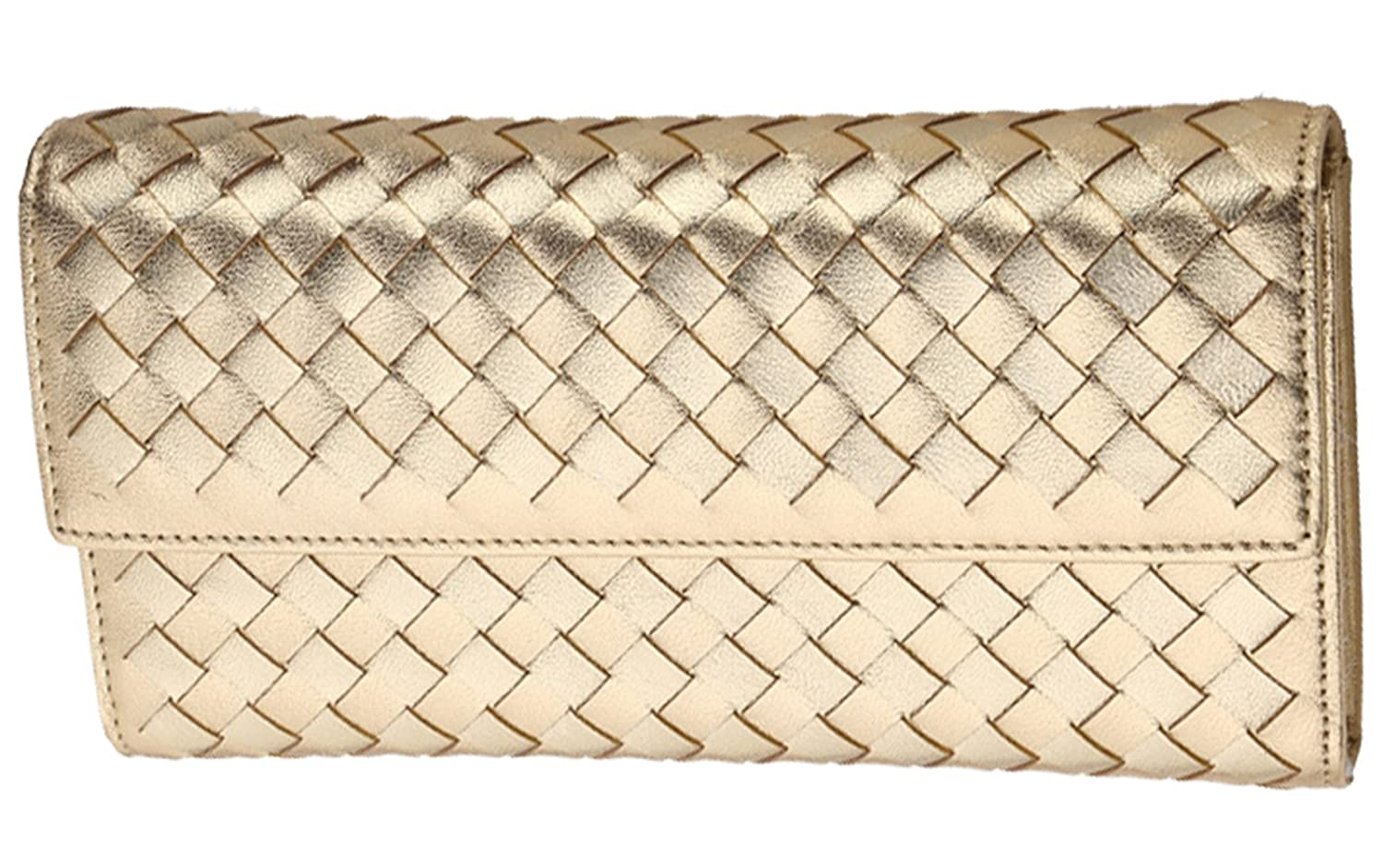 Tina Women's Retro Buckle Quilted Braided Flap Envelope Clutch Purse