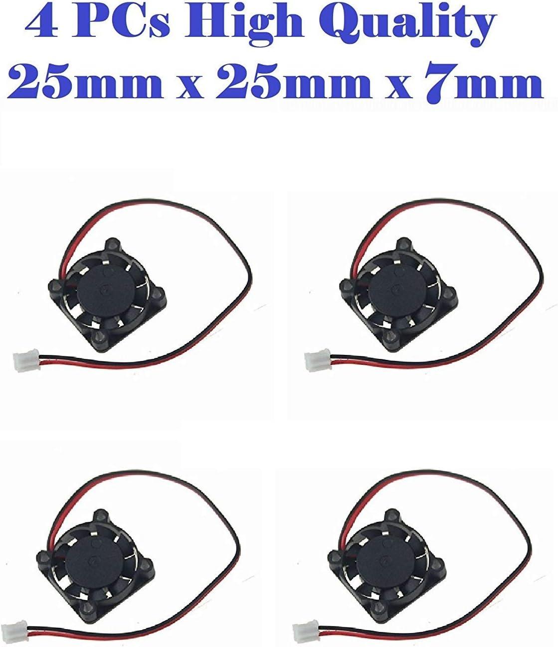 4-Packs 25mm x 25mm x 7mm 12000 RPM DC 12V Small Mini Brushless Cooling Fan