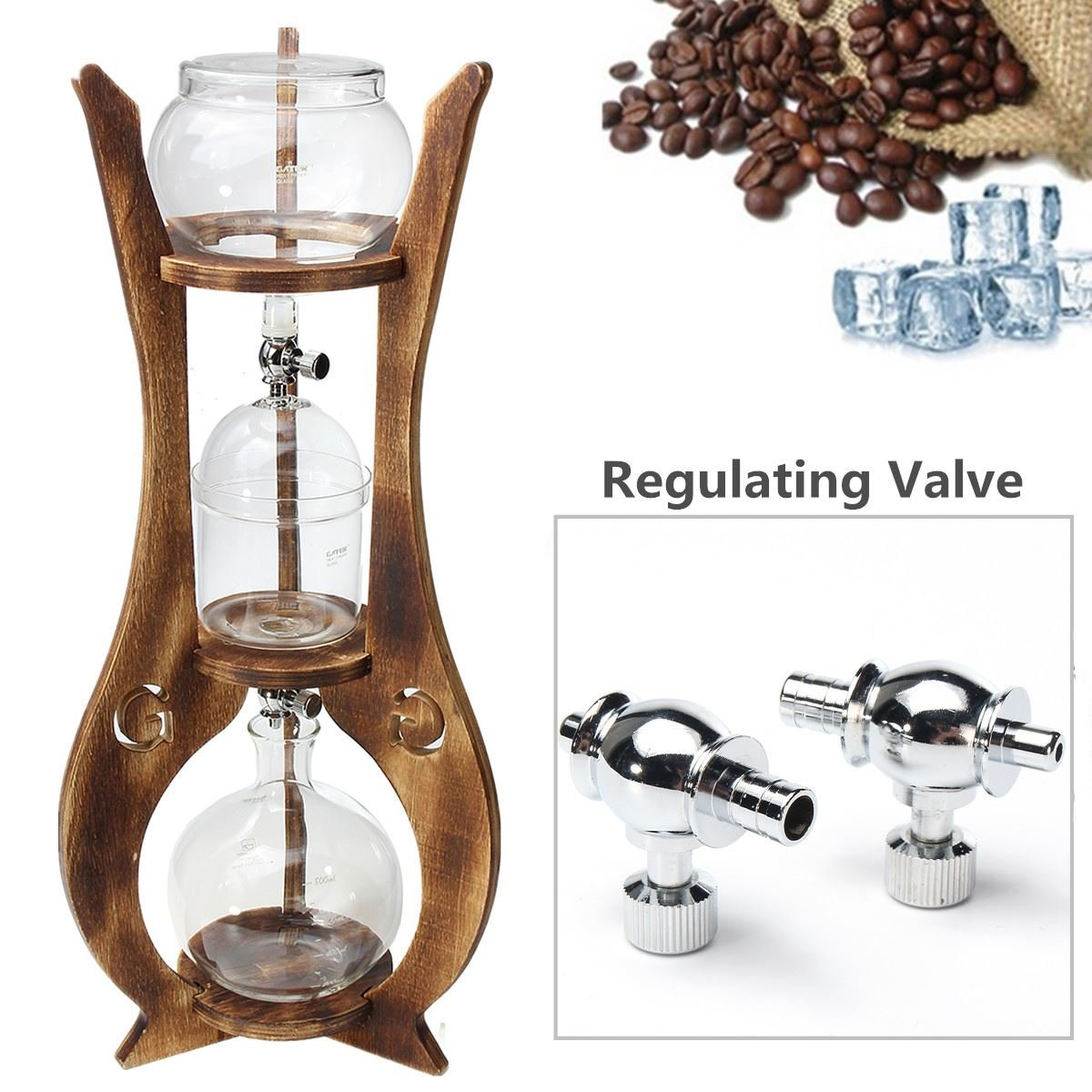 Xiaolanwelc@ 6 Cups Glass Cold Drip Iced Coffee Maker 600ml Brew Dutch Machine Espreeo Brewer Home Kitchen Coffee Tools Kit Wooden Tower by Xiaolanwelc