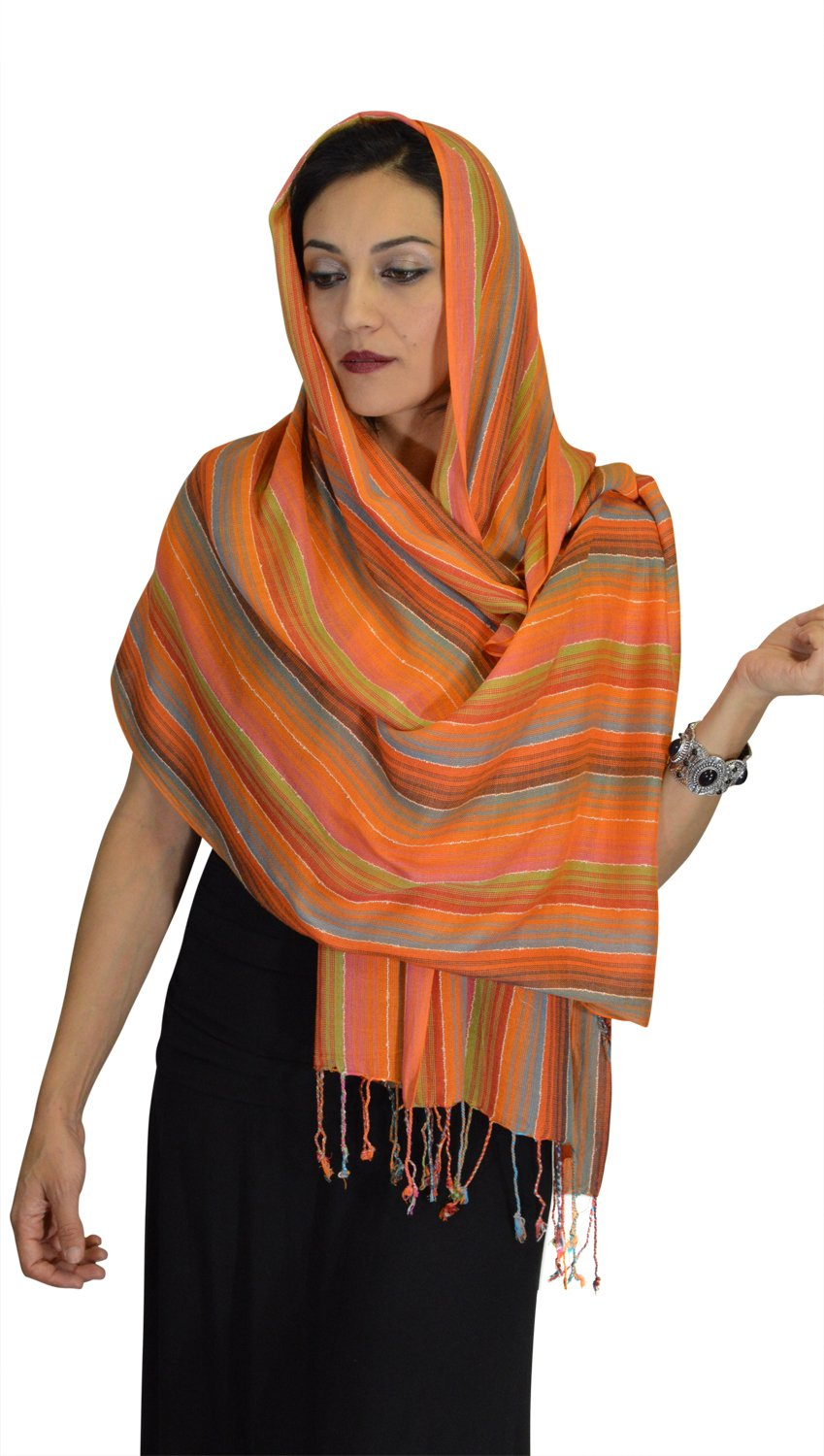 Moroccan Shoulder Shawl Breathable Oblong Head Scarf cotton Exquisite Wrap by Treasures of Morocco Shawls (Image #3)