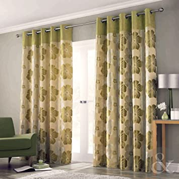 Green Curtains cream green curtains : LANA WOVEN FLORAL EYELET CURTAINS - Luxury Heavy Cream Gold Green ...