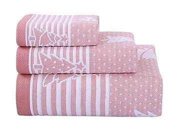 3 Piezas de árbol de Navidad Toallas de algodón de la Familia Toallas Toalla de Mano/Toalla de Cara Rosa: Amazon.es: Hogar