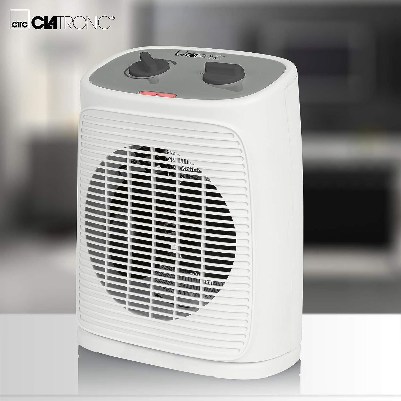 Clatronic HL 3738 3738-Calefactor port/átil con Enchufe y 2 Niveles de Ventilador Color Blanco Elemento Calefactor PTC de Alta Calidad Pantalla LED y luz de Control Temporizador de 12 Horas