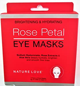 Nature Love Rose Petal Eye Masks, Brightening and Hydrating (5 Pairs)