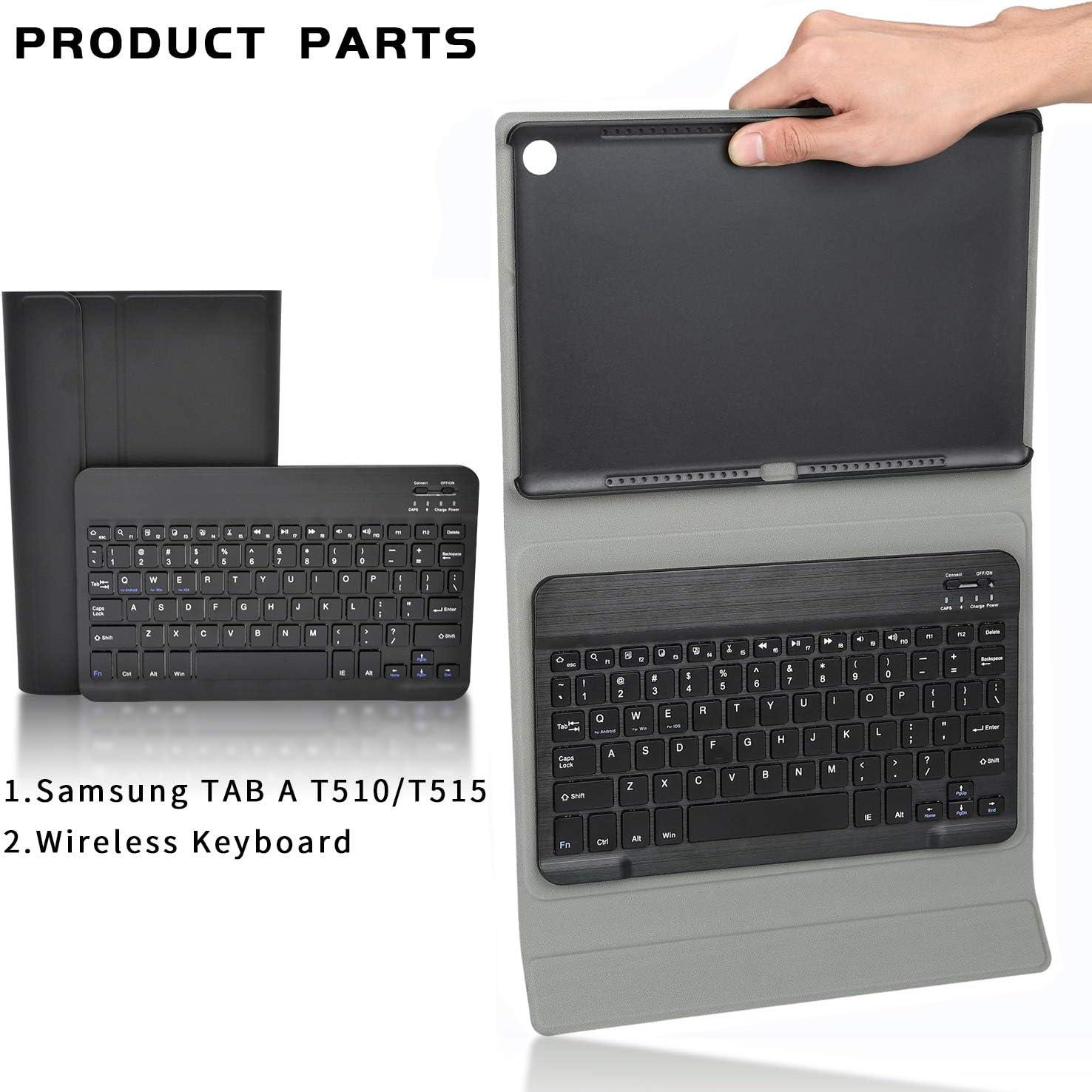 KILISON Teclado Estuche Funda Compatible con Samsung Galaxy Tab A 10.1T510/T515 [English layout], Negro