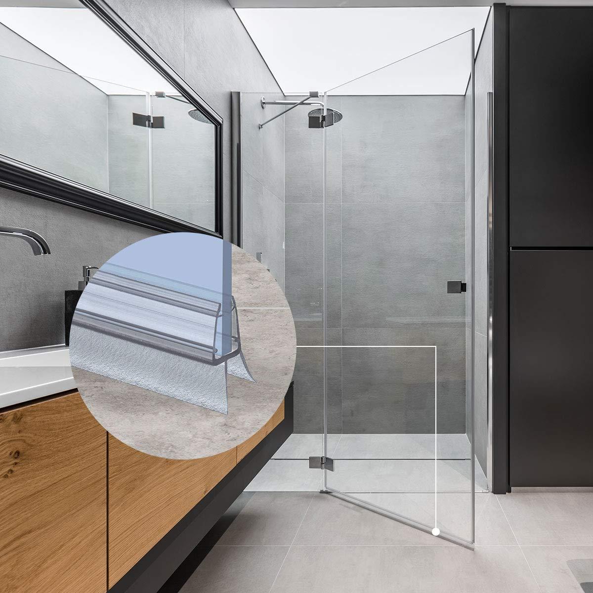 UK33-06 Guarnizione box doccia per 5mm// 6mm Spessore del vetro Guarnizione doccia sostitutiva deflettente Protegge la cabina dallumidit/à dritta STEIGNER 40cm