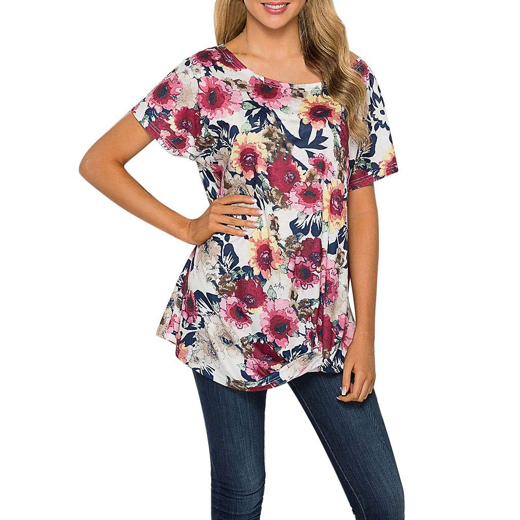 Womens Printed Floral Love Heart T-shirt Baggy Tops Summer Tunic Shirt Plus Size