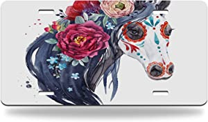 Moslion Boho Horse License Plate Native American Horse Bohemian Style Floral Peony Forget Me Nots 6x12inch Standard Size Novelty Vanity Decor Car Front License Plate Metal Car Plate Tag
