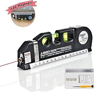 Laser Level, Self Leveling Laser Multipurpose Level Laser Tool Add Magnetic 8ft Measuring Tape Adjusted Standard And Metric Ruler