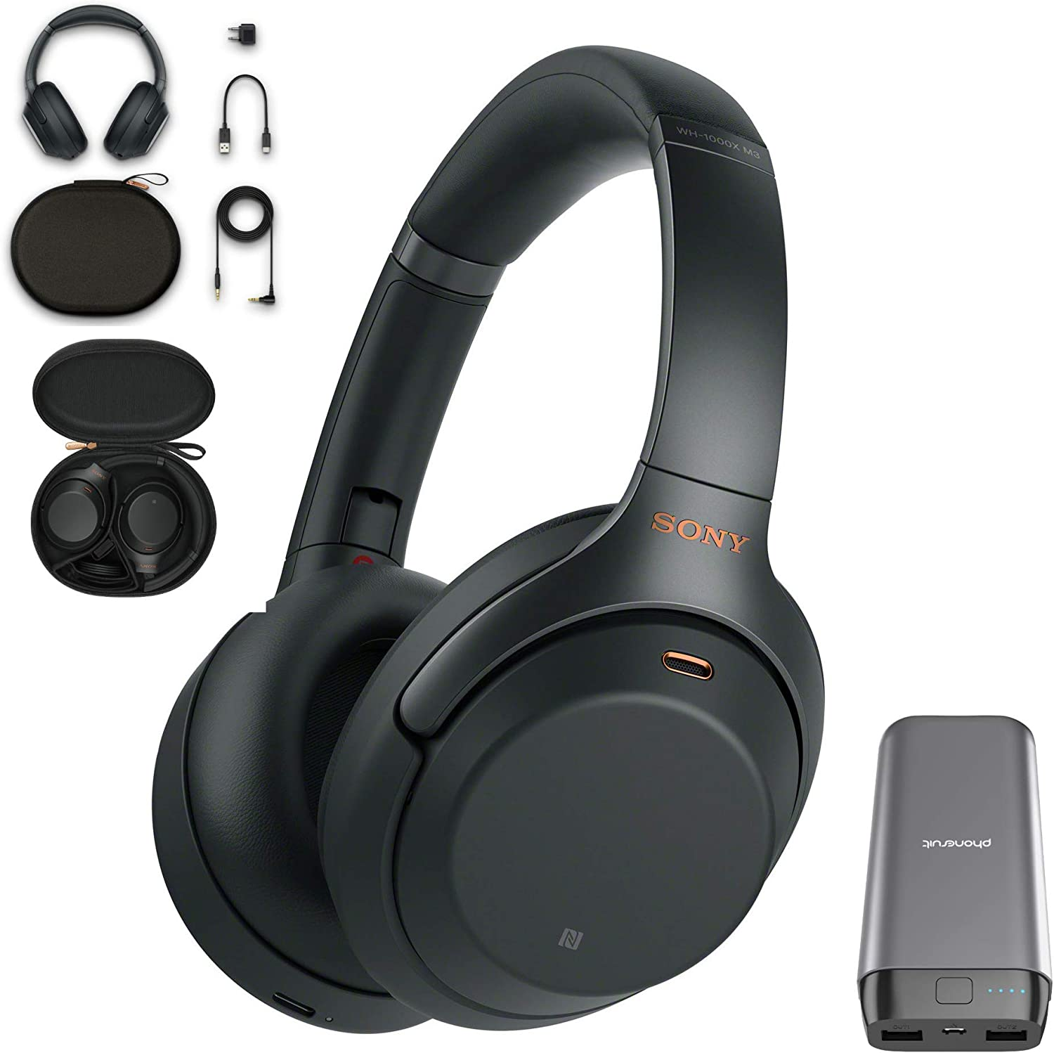 Sony WH-1000XM3 Wireless Noise Canceling Over Ear Headphones with Voice Assistant, Black WH-1000XM3 B, USA Warranty with 20,000mAh High Capacity Portable Power Bank Bundle
