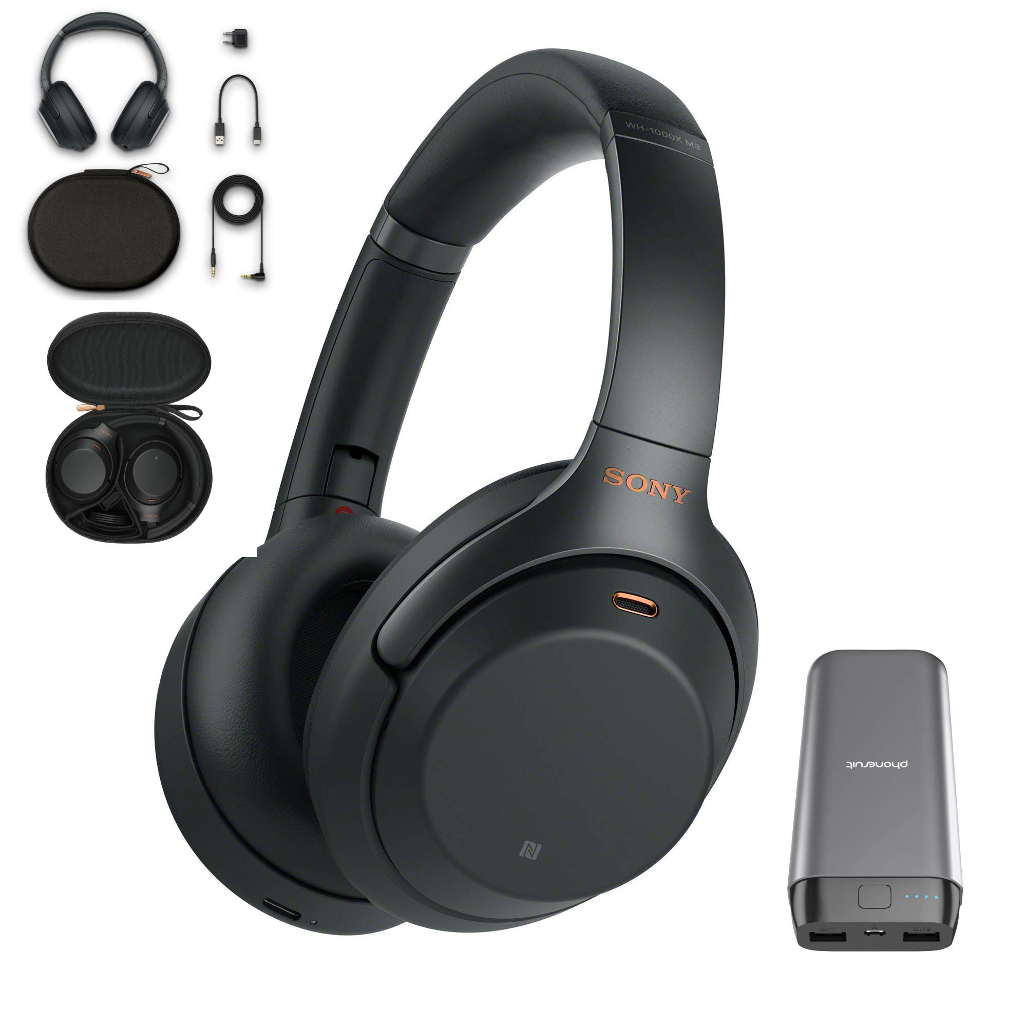 Sony WH-1000XM3 Wireless Noise Canceling Over Ear Headphones with voice assistant, Black (WH-1000XM3/B) with 20,000mAh High Capacity Portable Power Bank by Sony