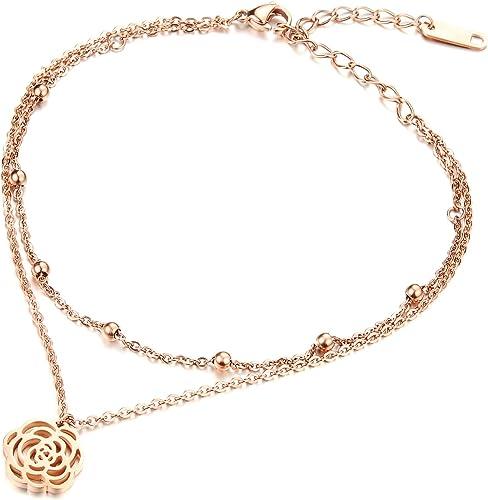 con zirconia cubica con estensione da 22,9 a 25,4 cm placcata in oro rosa in argento Sterling Cavigliera da donna con ciondolo a forma di ala dangelo
