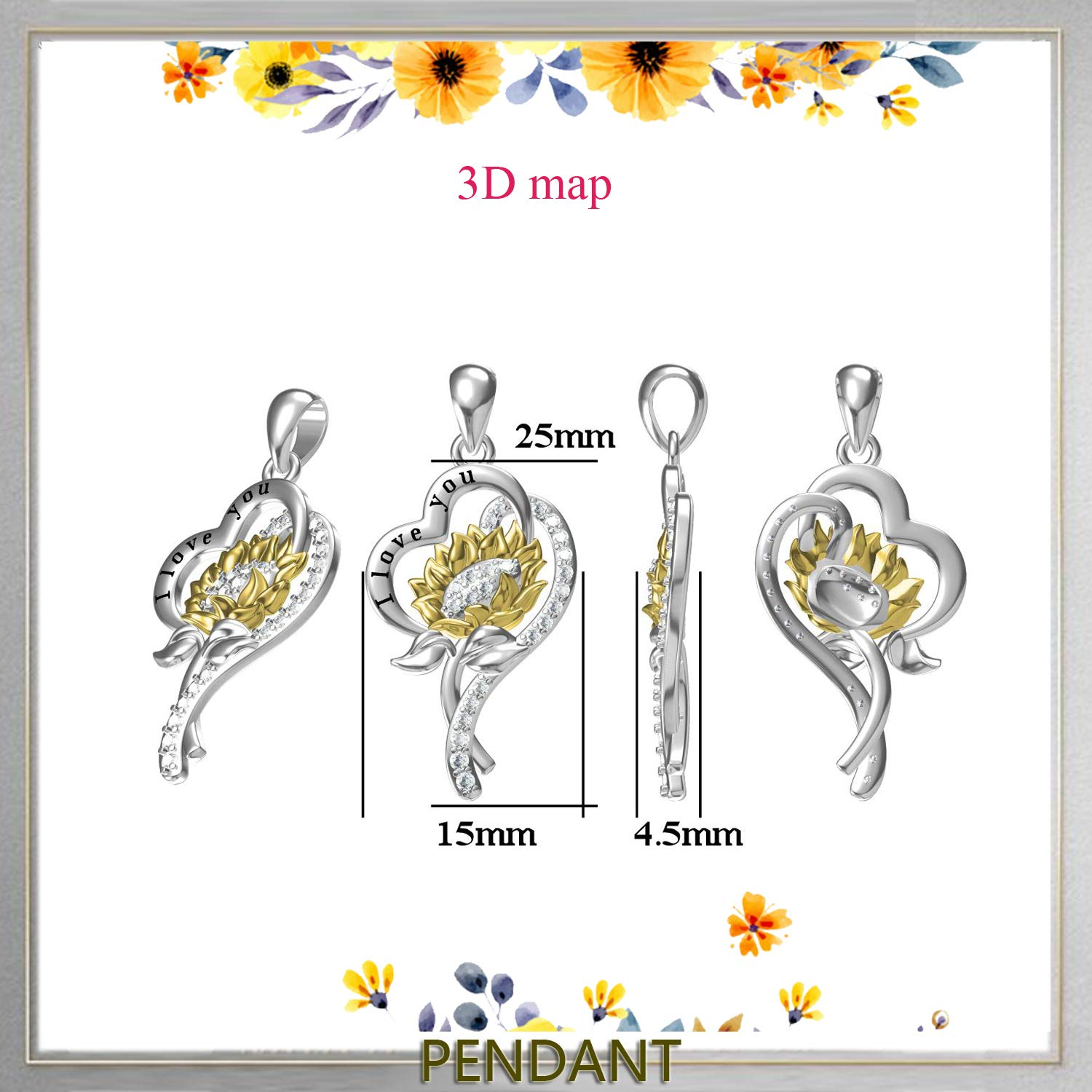 oGoodsunj Birthday Sunflower Flower Necklace Anklet S925 Sterling Silver Jewelry Heart Pendant for Women Girls You are My Sunshine I Love You