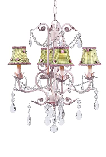 Amazon green check with pink rosebud chandelier shades on the green check with pink rosebud chandelier shades on the pink 4 arm valentino chandelier aloadofball Image collections